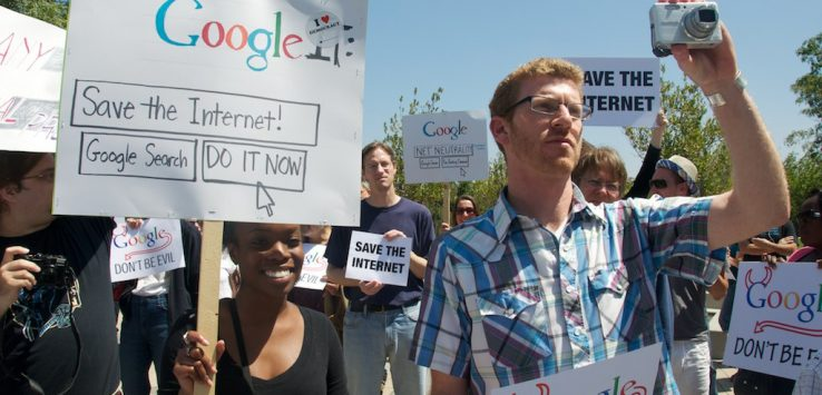 Google was a strong supporter of Net Neutrality  http://arstechnica.com/telecom/news/2010/08/a-paper-trail-of-betrayal-googles-net-neutrality-collapse.ars  until they made an announcement with Verizon  http://arstechnica.com/telecom/guides/2010/08/googleverizon-we-do-loopholes-right.ars  http://arstechnica.com/telecom/news/2010/08/google-net-neutrality-flip-flop-in-spirit-of-compromise.ars   He'll be covering the rally  http://arstechnica.com/author/matthew-lasar/   Public policy groups rallied online & gathered 300.000 signatures   http://savetheinternet.com/blog/10/08/13/google-can-you-hear-us-now  http://savetheinternet.com  http://www.colorofchange.org/opennet/  http://www.colorofchange.org  http://pol.moveon.org/google/  which were delivered to Google's DC office and today to their headquarters in Mountain View  http://www.pcmag.com/article2/0,2817,2367814,00.asp  http://thehill.com/blogs/hillicon-valley/technology/114253-google-protest-draws-about-100-organizers-say  http://www.nbcbayarea.com/news/tech/Protesters-Lash-Out-at-Google-100648224.html  http://www.npr.org/blogs/therecord/2010/08/13/129176208/you-ve-got-to-change-your-don-t-be-evil-ways   Google said people should comment on their public policy blog  http://googlepublicpolicy.blogspot.com/2010/08/joint-policy-proposal-for-open-internet.html  http://googlepublicpolicy.blogspot.com/2010/08/facts-about-our-network-neutrality.html    The Raging Grannies sang  http://www.youtube.com/watch?v=_O4hI1kiCP4  Google don't be evil chant  http://www.youtube.com/watch?v=CQu7zl0xczA  Internet is under attack chant  http://www.youtube.com/watch?v=DwyBCxL_KRc  I'll be uploading more video (to YouTube of course as well as here)  http://www.raginggrannies.com  http://www.indybay.org/newsitems/2010/08/13/18656020.php